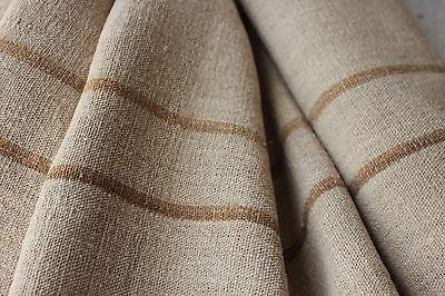 Grain sack Fabric Antique homespun linen caramel striped hemp by the yard