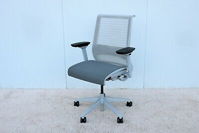 Steelcase Ergonomic Executive Think Desk Chair In 3d Knit Back Fully Adjustable