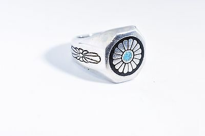 Vintage Large American Silver White Bronze Turquoise Flower Inlay Size 7 Ring