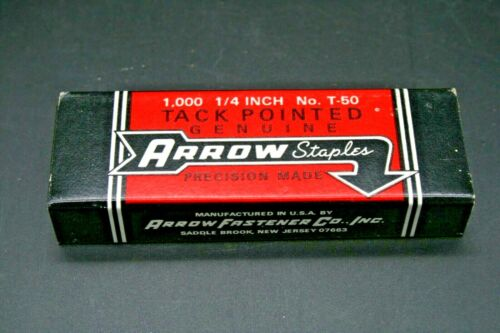 Vintage 1,000 1/4 No. T-50 Tack Pointed Genuine Arrow Staples Made USA New York