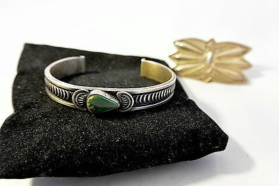 Signed Harry Morgan Navajo Turquoise Stamped Bracelet Sterling Silver  Bonus