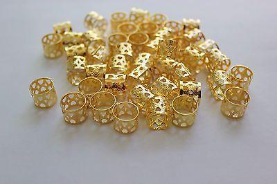 48PC  Hair Dreadlocks Bead Cuff Clip. Filigree Tube Gold Color 12MM