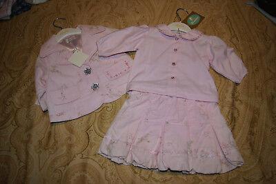 Conjunto chaqueta, blusa y falda niña bebé 3 meses Abella