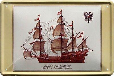 """""""Adler von Lübeck"""" Galeone Segelschiff Schiff Meer 20x30 cm Deko Blechschild 227"""
