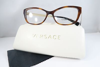 Versace MOD 3236 5217 Havana/Gold/Black Tips New Authentic Eyeglasses 52mm Case