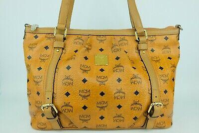 100% Authentic MCM Cognac Visetos Large Shopper Shoulder Bag