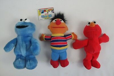 Tyco Sesame Street Beans Ernie Cookie Monster Elmo Plush Toy Vintage 9