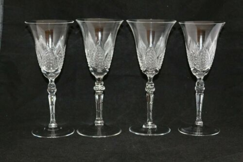 ANTIQUE SET 4 CUT GLASS CRYSTAL WINE CHAMPAGNE GOBLETS GORGEOUS DETAILS