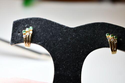 Antique Vintage Art Deco Style 14k Gold Emerald & Diamond Earrings BEAUTIFUL!