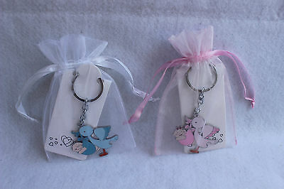 new 12 baby shower blue stork key chain w pouch party favor game gift  ()