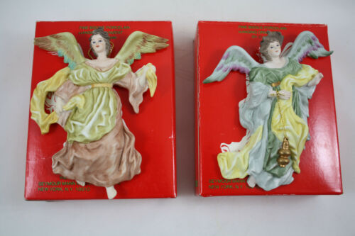 Milano Porcelain Sculpture Angel Ornaments by Eda Mann, Lot of 2