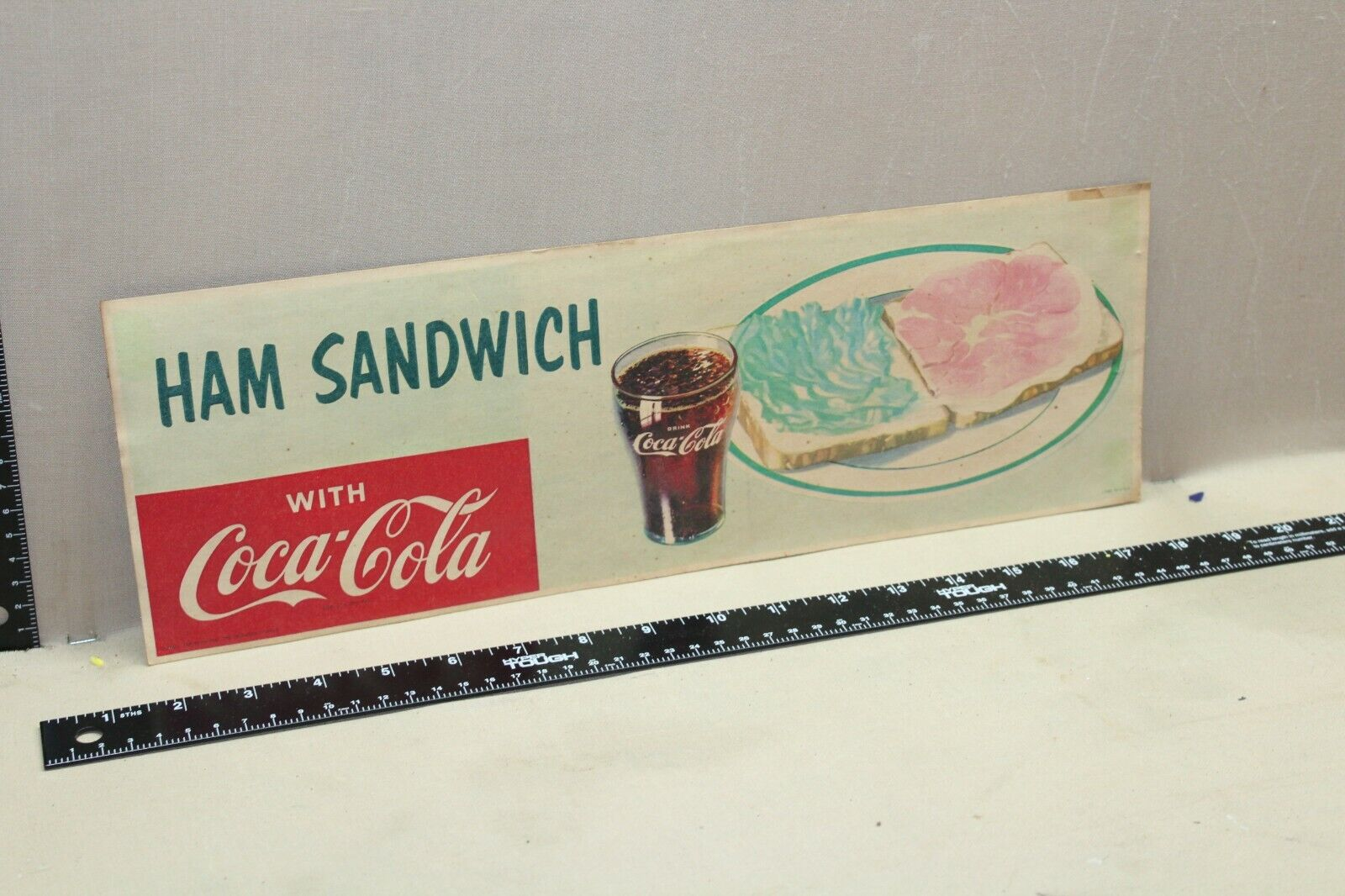 RARE 1957 COCA COLA HAM SANDWICH DINER DISPLAY SIGN DRIVE IN RESTAURANT GAS  - $0.99