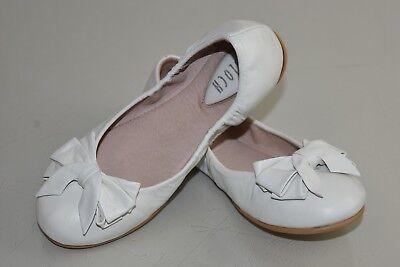 Neu Bloch Mädchen Kinder Flache Ayva Weiß Schleife Schuhe 31 12