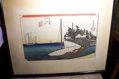 VINTAGE ASIAN W/COL. LAND AND SEA PAINTING - SIGNED - L-B803