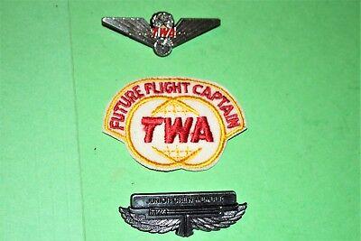 TWA AIRLINES FUTURE FLIGHT CAPTAIN HAT BADGE PATCH JUNIOR PILOT KIDDIE WINGS LOT