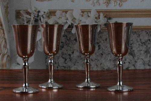 "Vintage Pilgrim Silverplate Goblets 3 1/2"" Tall Set of 4"
