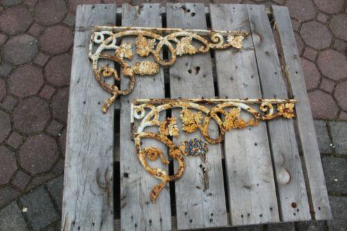 (2) Architectural Large Vintage Cast Iron Ornate Shelf Brackets Grapevine Bunch
