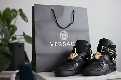 Auth VERSACE $1,290 Palazzo DS Sneaker High Tops Medusa Shoes
