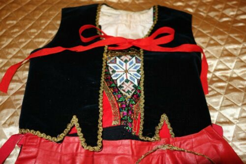 ANTIQUE BEADED 5 PC. HAND MADE DIRNDL TRACHTEN DRESS GERMAN BAVARIAN OKTOBERFEST