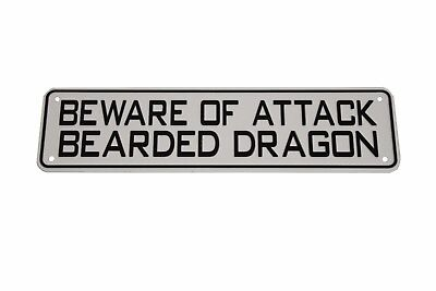 Beware of Attack Bearded Dragon NEW Reptile Lizard Sign Iguana Frog Snake Gift