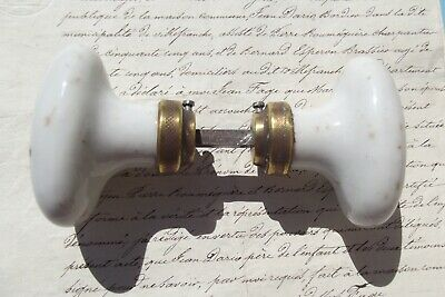 Pair of Antique French Door Handles Heavy Porcelain Iron knobs Victorian
