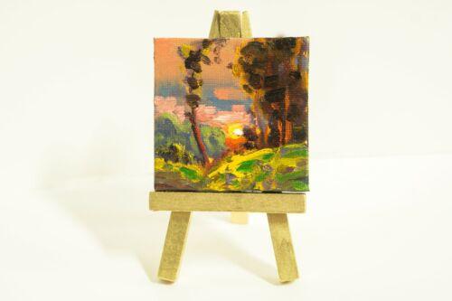MAX COLE ART oil painting landscape antique vintage old style miniature easel 75