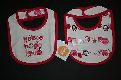 - New Gymboree Ivory Peace Hope Love Reversible Bib One Size NWT Newborn Line