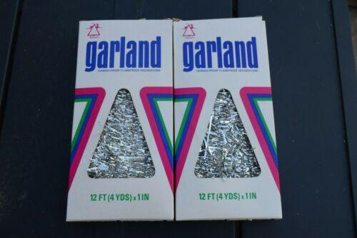 Tinsel Garland Christmas SILVER Vintage National Tinsel Made in USA 2 boxes
