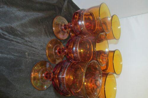 VINTAGE  AMBER  WATER GLASSES (SET OF SIX)