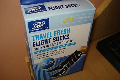 A Pair  Boots Travel Fresh Flight Socks Black 14-17 mmHg Size 3.5 - 7.5