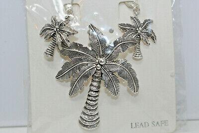 Beautiful NEW! Icon Collection Silvertone Palm Tree Pin/Pendant Earring Set C2 (Pin Pendant Set)