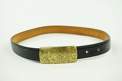 Vintage Coach Black Leather Belt Floral Engraved Brass Buckle Small 3908 Black Leather Etched Buckle Belt