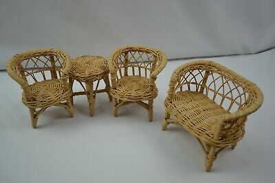 Wicker Doll Furniture Set - Two Chairs, Table and Love seat Wicker Two Seat