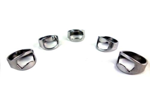 NEW 5pcs Stainless Steel Finger Ring Bottle Opener Bar Beer tool Colors Silver