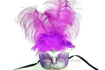Tall Feather Masquerade mask Sweet 16 birthday high school Prom  Mardi Gras