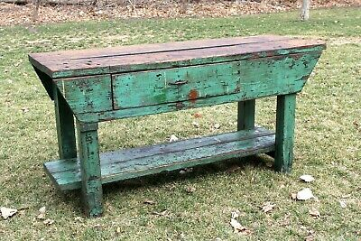 Vintage Wood Workbench Kitchen Island Entertainment Stand Industrial Table