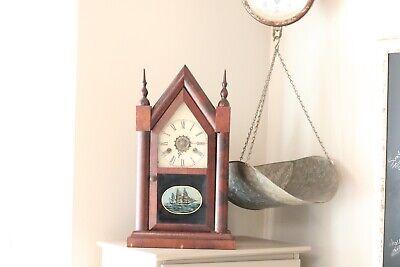 Antique Waterbury Clock Co. Mantle Steeple Clock w Ship Logo Needs Repair