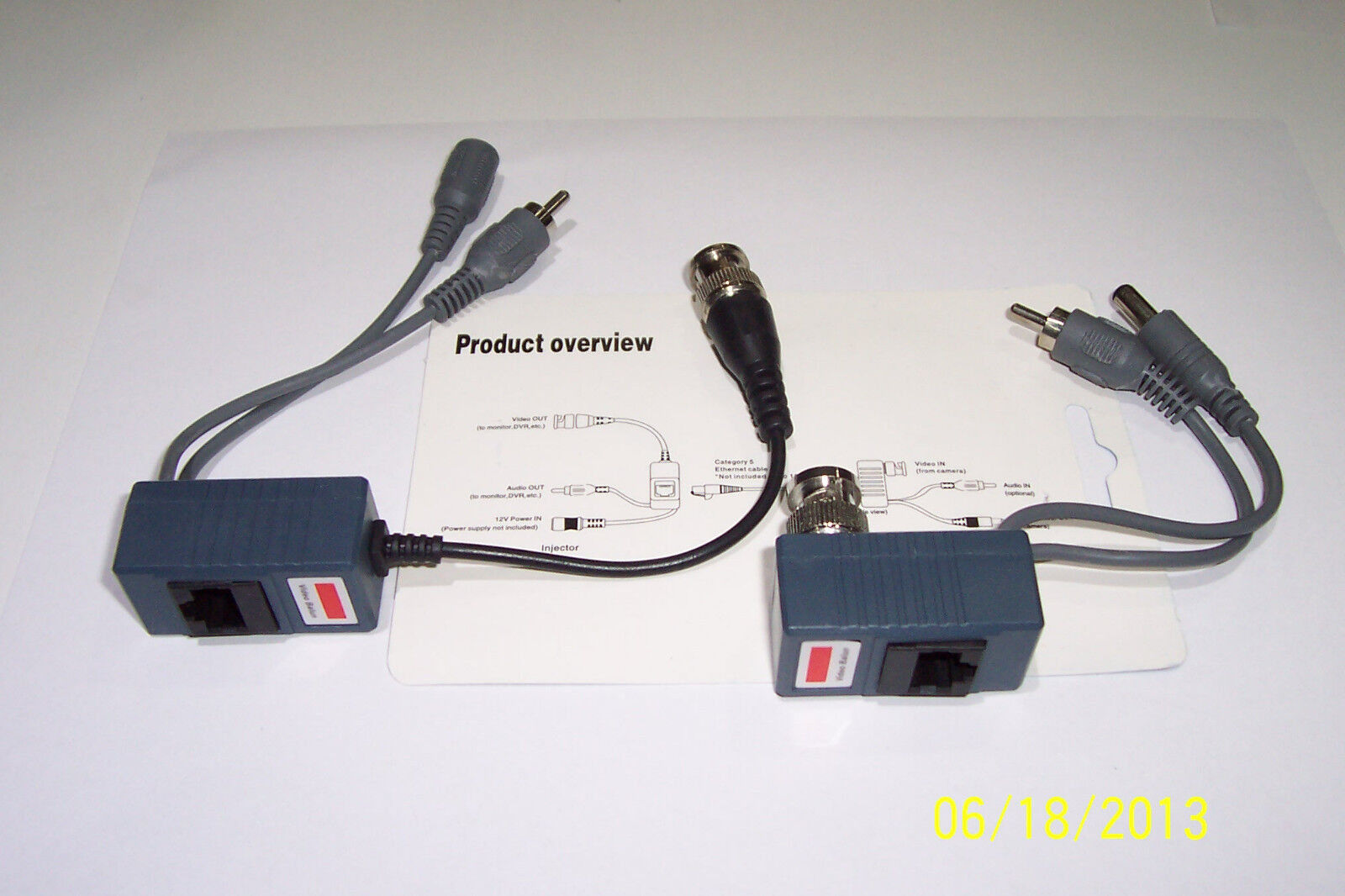 1 SET , CAMERA / DVR ,NEW CCTV AUDIO/VIDEO/POWER BALUN ,BNC,RCA TO,CAT5 , NEW