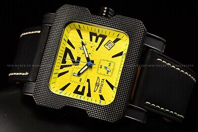 RARE Invicta Men 50mm Square Speedway Swiss Chrono Leather Strap Yellow Watch