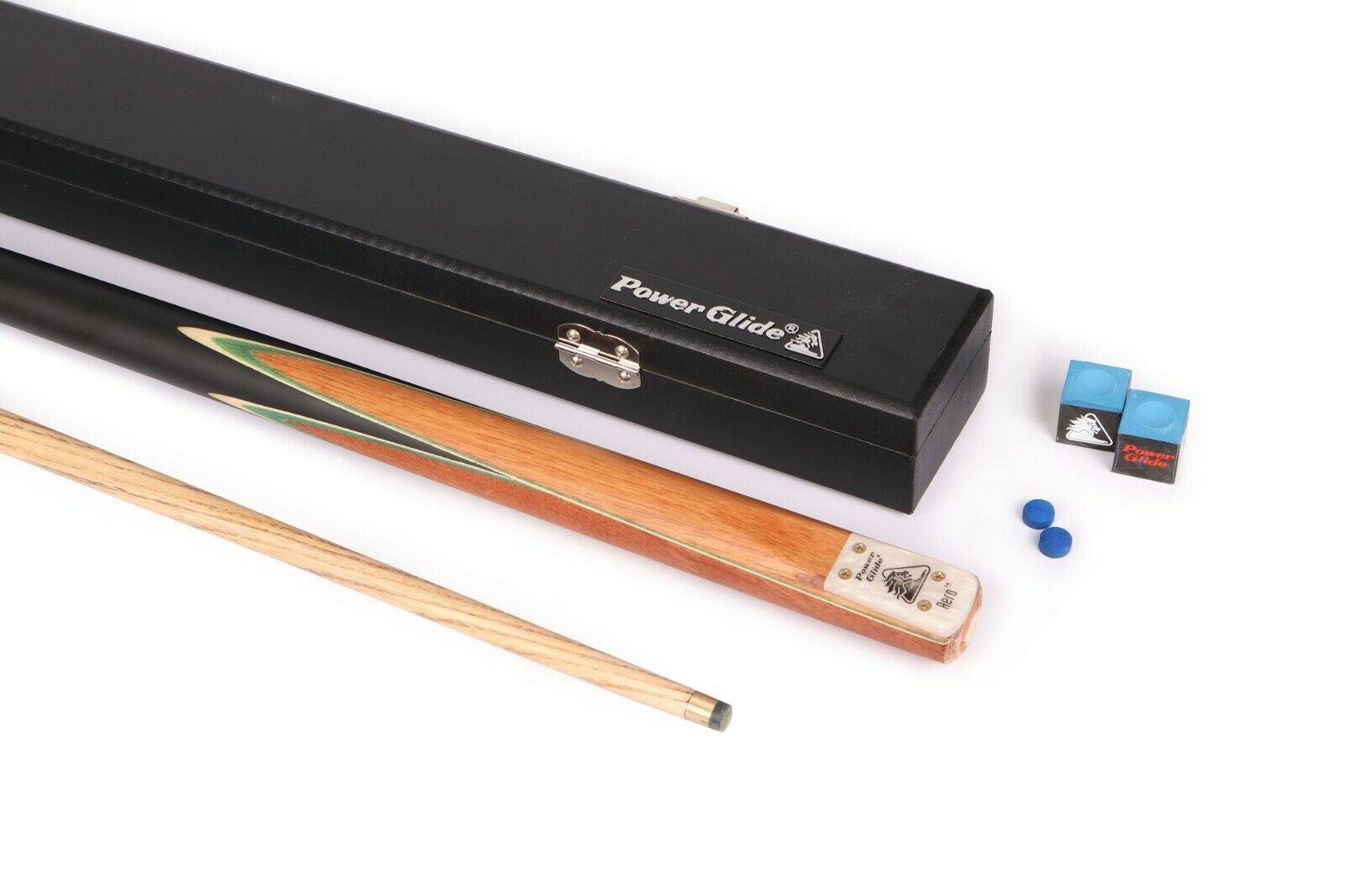 PowerGlide Aero Cue and Case Bundle / Set 50/50 Split Inc Chalk and Spare Tips