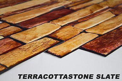 1 PVC Dekorplatte Mosaic Wandverkleidung Platten 95x48cm, TERRACOTTASTONE SLATE
