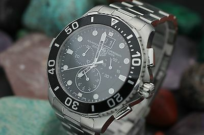 Men's TAG HEUER Aquaracer Chronograph CAN1010 Stainless Steel w/ Box & Papers