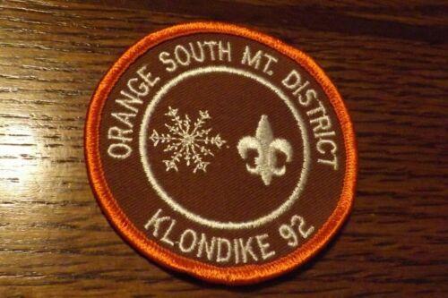 BOY SCOUT PATCH 1992 ORANGE SOUTH MT DISTRICT KLONDIKE