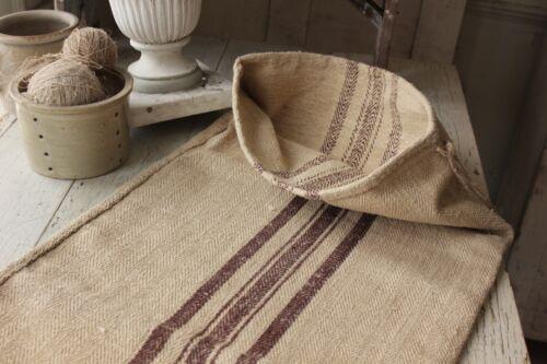 Vintage GRAINSACK grain sack feed bag BROWN stripe hemp linen old bag