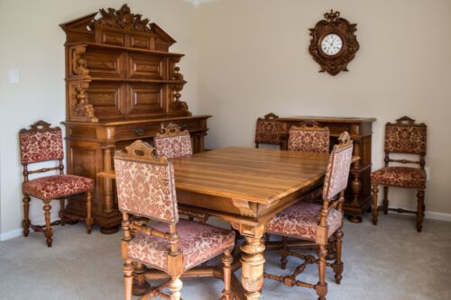 Gorgeous Antique Black Forest Set Dining Table, Chairs, Clock, Hutch 1800