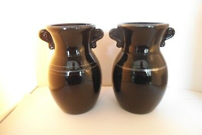 Vintage Smith Glass Black Amethyst Double Eared Pair of Vases Vase Silver Band