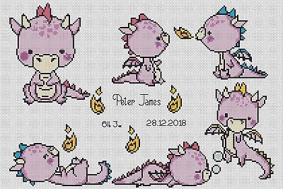 Birth Sampler Baby Dragons in Purple Counted Cross Stitch Chart No. 5-115b