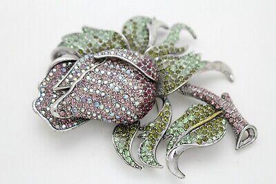 Women Silver Metal Fashion Jewelry Bling Brooch Rose Purple Flower Elegant Pin
