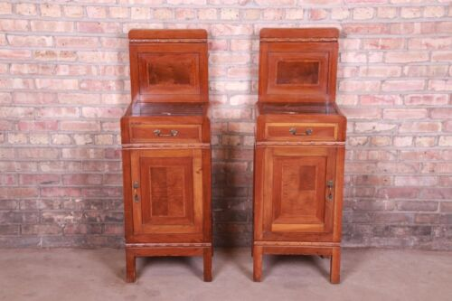 Antique French Art Deco Marble Top Mahogany Nighstands, Circa 1920s