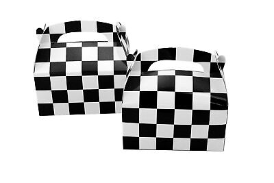 12pk Checkered Black and White Nascar Racing Theme Party Supplies Favor Boxes - Black And White Party Theme
